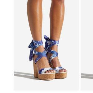 Zaneta tie dye blue platform sandals